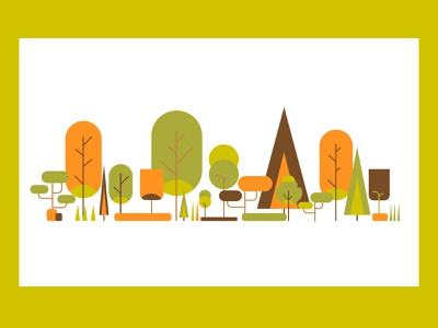 ⚘ Minimalistic llustrations ⚘ Amazing Trees ilustrator graphic design web website designer minimalist colorpalette colorscheme trees ilustration