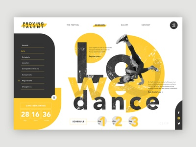 Dance Festival Homepage ➥ Web Design