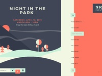Night in the park event web design concepts 04 19