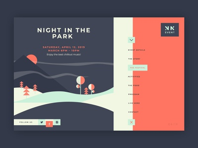 Night in the Park Event ➥ Web Design creative design colors website web bestcolor color palette best designer uidesign uidesigner ui wordpress web design collection graphic inspiration creativedesign interface design web development web design layout