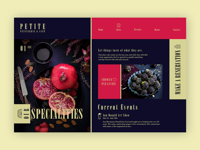Pâtisserie & Café ➥ Web Design ux design web development creative design inspiration graphic design colors palette template web website webdesig patisserie cafeteria cafe