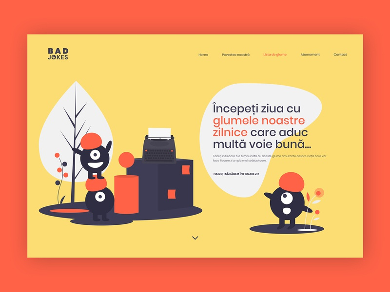 Bad Jokes Web Design illustraion uxuidesign uxui ux webpage webpage design wordpress graphic design inspiration design company colors ui uidesign illustration web design