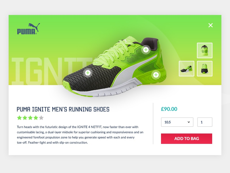 E-Commerce Product Popup e-commerce popup puma web design