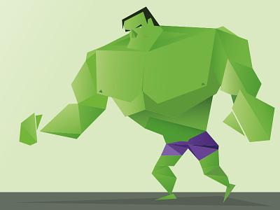 Hulk Smash illustration cubic low poly poly hulk superhero character