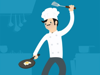 Chef illustration illustrator chef blue character design