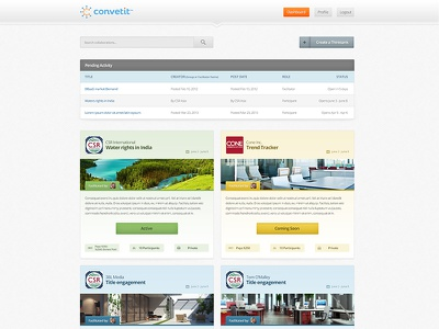 Convetit Pending Activity website webdesign subpage activity