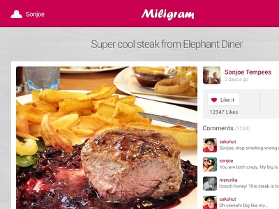 Miligram Photo App design pink web app miligram