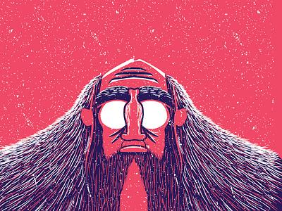 Old Man vector portrait sage mountain hair snow vision man wise cold snowman yeti
