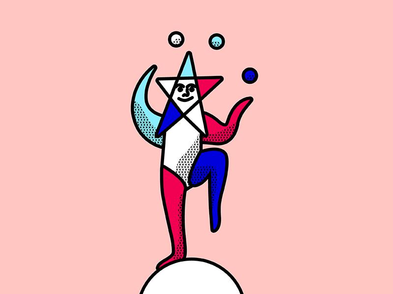 Juggler harlequin performer star circus juggle