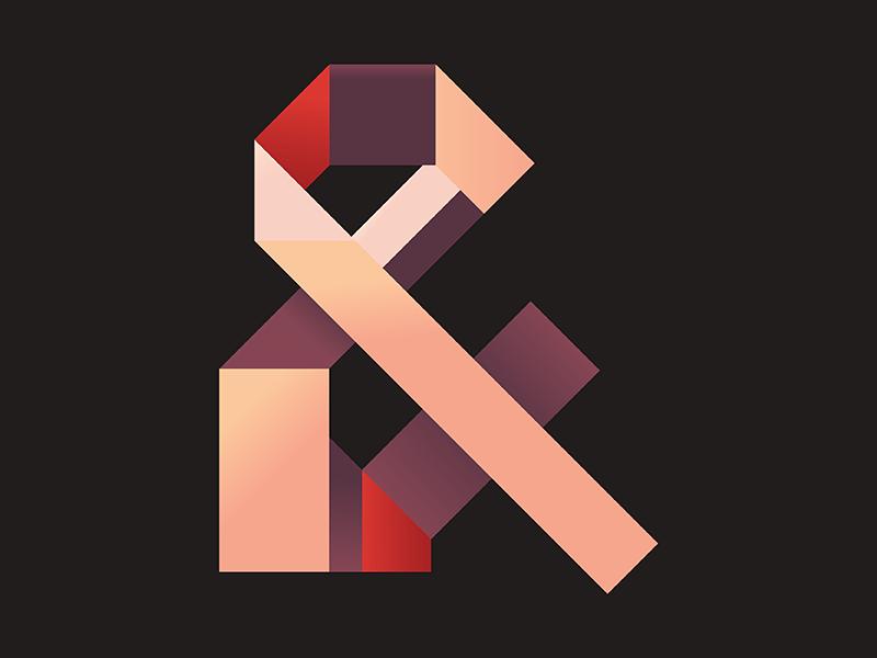 Ampersand ribbon exploration type lettering