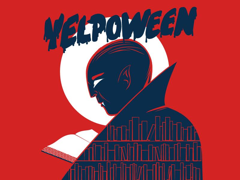Yelpoween library vampire typography books yelp blood dracula halloween