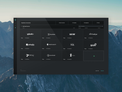 Data Connectors Page dark ux ui product database