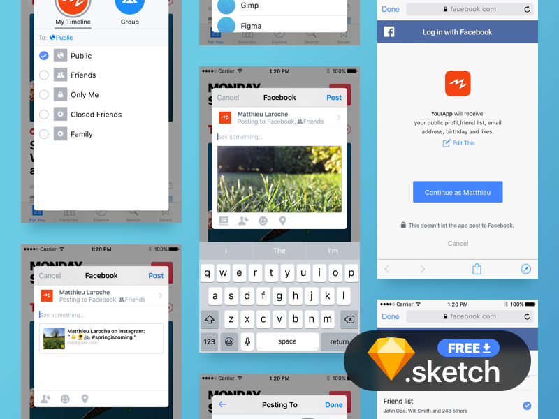 Facebook Share & Connect UI for prototype [freebie sketch] resource iphone ios kit interface sketch connect share facebook ui freebie free