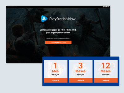 Playstation Now focused on conversion adobe xd webdesign conversion landing page playstation
