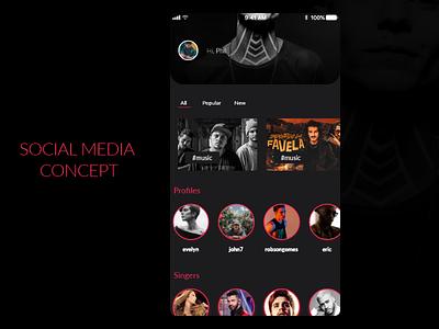 Social media concept app design design iphone mobile app sketchapp dark theme adobexd sketch social media