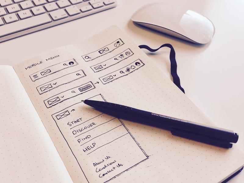 Just a sketch responsive mobile menu wireframe sketch