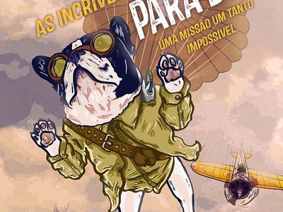 Parachute 2.0 ink digital frenchie french bulldog illustration