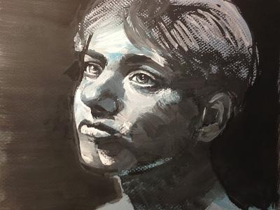 Gouache Girl girl painting white black gouache ilustration