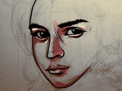 Sketching  woman photoshop drawing sketch digital