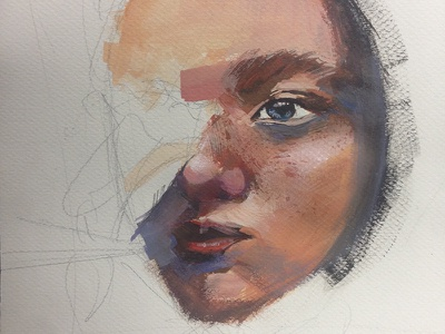 Red hair hair red paint woman painting wip gouache
