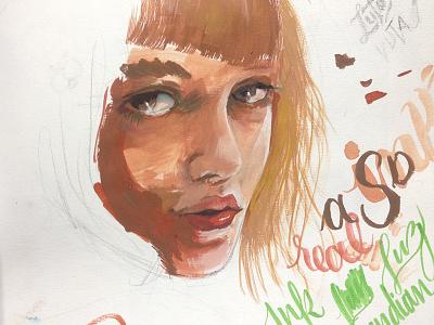 Blond portrait wip woman painting paint gouache