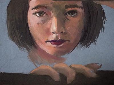Black hair art window woman portrait painting paint gouache
