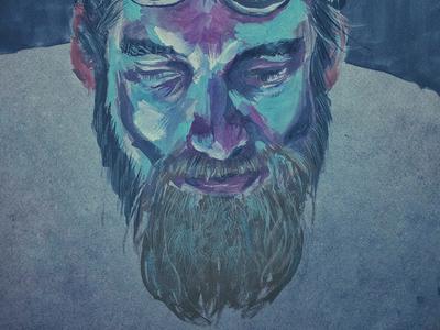 Bleu beard blue man portrait painting paint gouache art