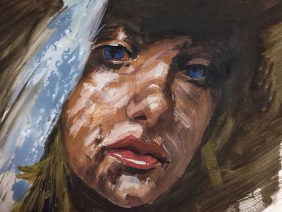 Shadow portrait painting paint gouache blond woman art