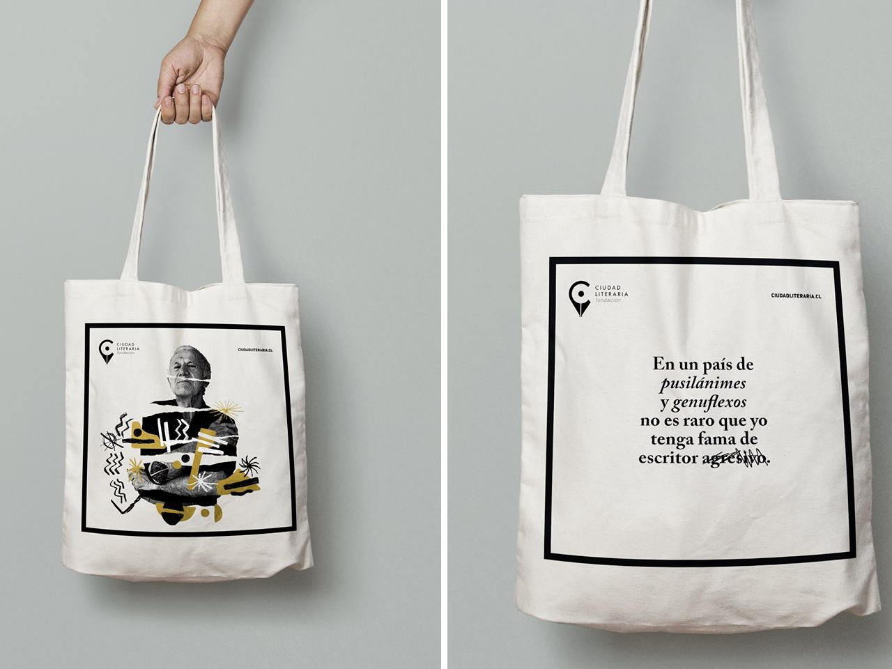 CL_Totebag_Merch portrait collage abstract books art direction branding design literature handdrawing printing textile design tote bag screenprinting handmade merchandise design apparel design