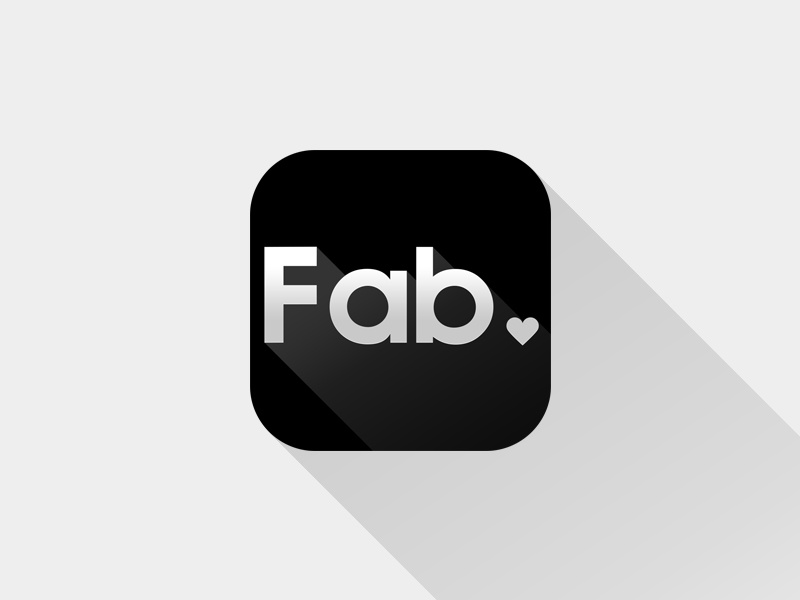 Long Shadow? Sure, Lets try with Fab! iphone icon fab app logo black grey long shadow flat design