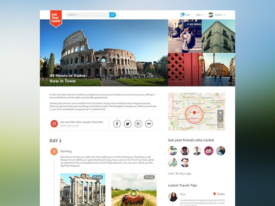 Itinerary page - redesign for getyourguide.com itinerary travel guide redesign website icons instagram maps timeline colors widgets flat design