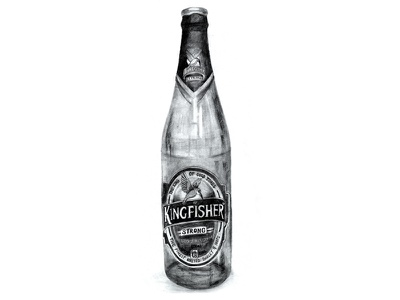 Kingfisher Beer Bottle - Illustration illustration drawing pencil charcoal kingfisher indian beer stilllife shadow bottle india alcohol