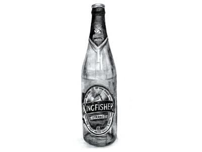 Kingfisher Beer Bottle - Illustration