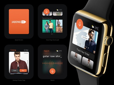Jabong App with Apple Watch Support - Concept cards apple din shopping clothes mobile ios ui flat iwatch ecommerce jabong