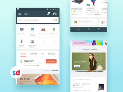 Design Refresh - Snapdeal App ios android snapdeal e-commerce india marketplace maison neue mobile recharge landing page minimal app