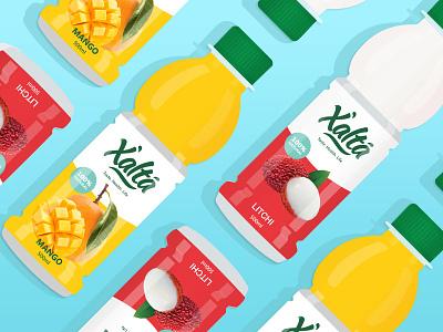 Xalta - Branding/Packaging fruit drinks red yellow fresh color litchi mango juice packaging identity logo branding