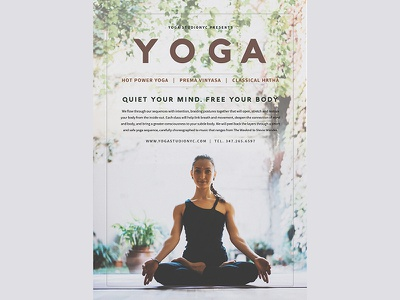 Yoga Classes Studio Flyer template relax sport modern graphic typography card flyer yoga