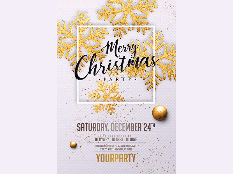 Christmas Party Invitation White Gold by MadridNYC - Dribbble