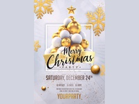 Christmas Party Invitation White Gold