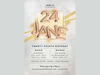 Birthday Party Invitation White Gold