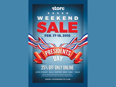 Presidents Day Flyer Sale design typography graphic stripes stars blue eeuu sale president