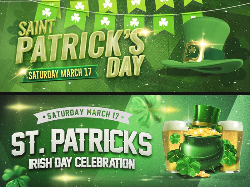 Saint Patrick Facebook Banners typography graphic icon beer green banner facebbok party irish saint patrick