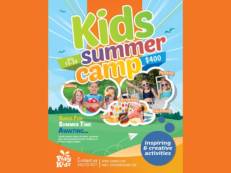 Kids Summer Camp Flyer by MadridNYC - Dribbble