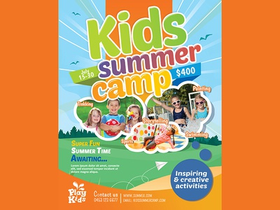 Kids Summer Camp Flyer By Madridnyc  Dribbble