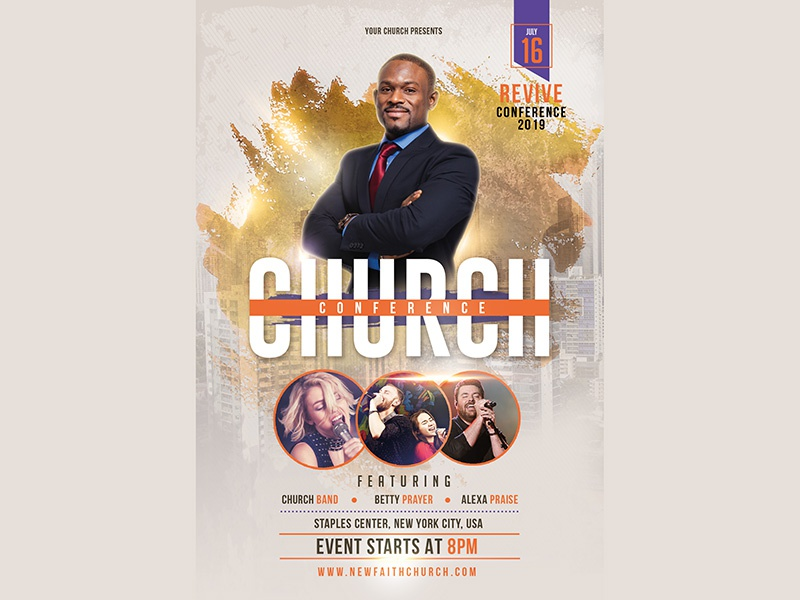 Church Event Or Conference Flyer Template Typography Graphic Gospel