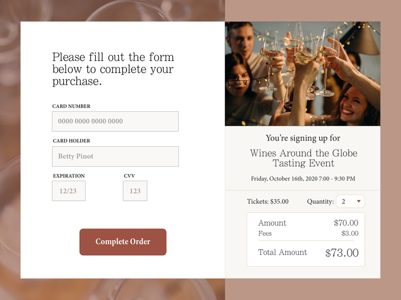 Credit Card Checkout for Wine Tasting Event ui events rustic credit card checkout credit card payment credit creditcard wine tasting wine daily ui 002