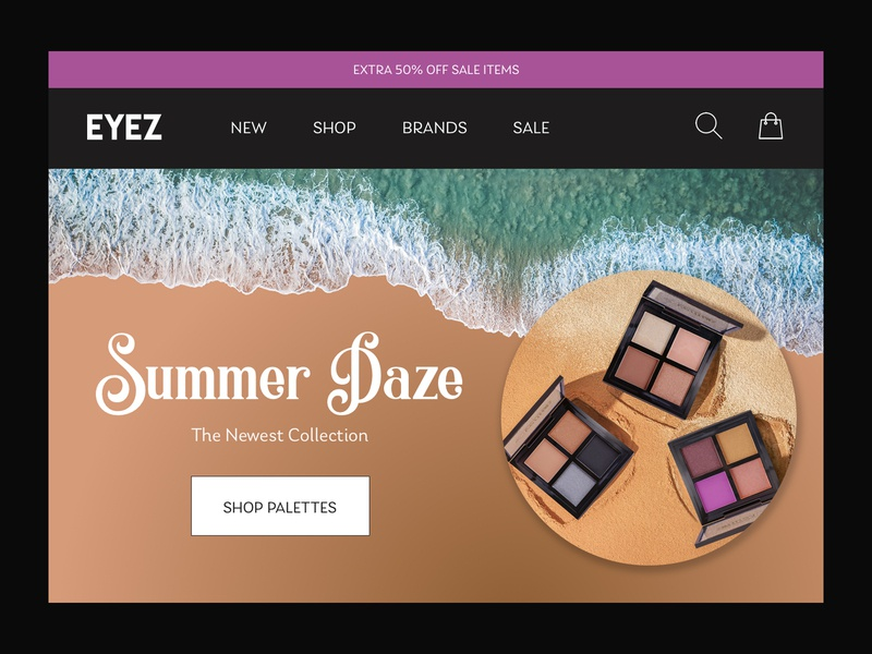 Eye Shadow Landing Page shore beach sand sun summer ui cosmetics palettes daily ui 003 landing page ecommerce makeup eye shadow