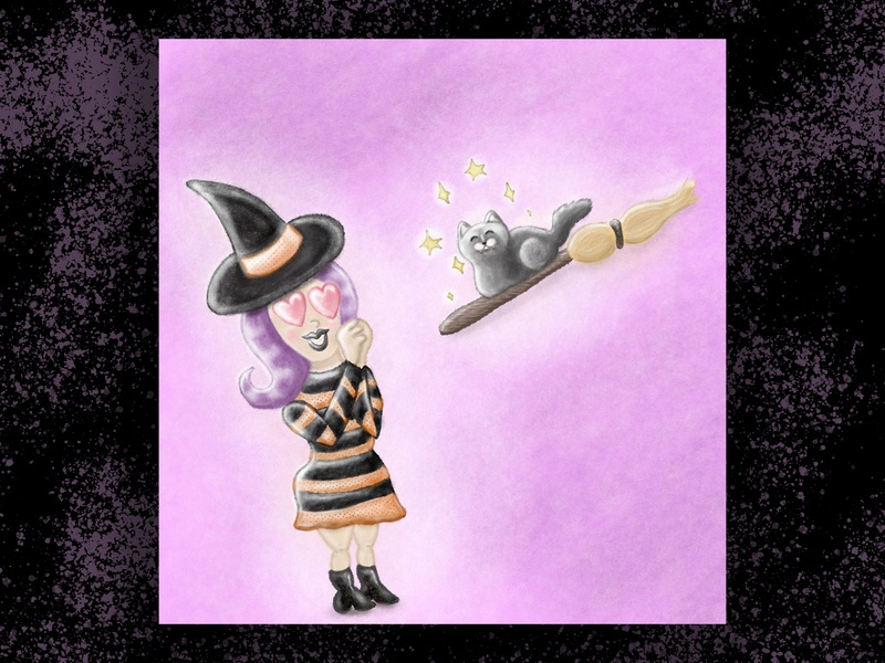 Enchanted illustration spell magic broom enchanted cat witch procreate halloween