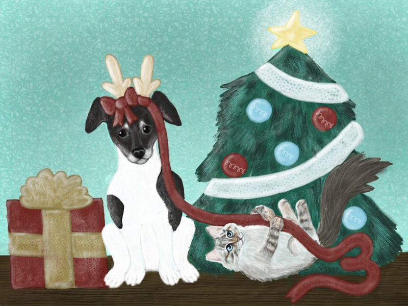 Advent: Day 3 bay state design shop pets procreate holiday illustration present bsds tree advent christmas dog cat