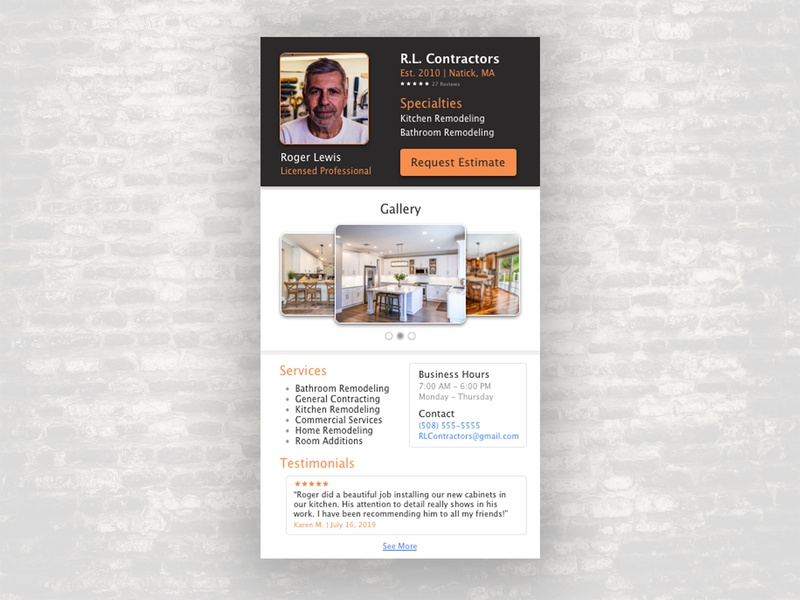 Contractor Profile daily ui 006 daily ui ui home improvement kitchen contractor app profile